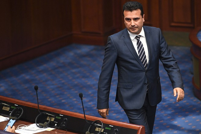 epa07105797 Macedonian Prime Minister Zoran Zaev arrives at the parliamentary session on changing the state's constitution in Skopje, The Former Yugoslav Republic of Macedonia (FYROM), 19 October 2018. Two thirds (80 members of the parliament) of Macedonian parliament voted to start changing the state's constitution and constitutional changes to change the name of the country in North Macedonia according to the deal with Greece.  EPA/GEORGI LICOVSKI