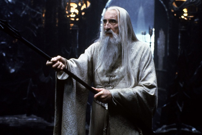 """CAN26 - 20010513 - CANNES, ALPES-MARITIMES, FRANCE : Hand out picture shows British actor Christopher Lee as the evil Saruman in a scene of the film """"The Lord of the Rings"""", directed by New-Zealand's Peter Jackson. """"The Lord of the Rings"""" is not screening at the Cannes Film Festival, it's not even finished, but the """"Lord of the Rings"""" trilogy, being filmed by New Line cinema, looks so much like being a mega hit that the studio is going all-out to build the hype. EPA PHOTO-AFP-HO"""