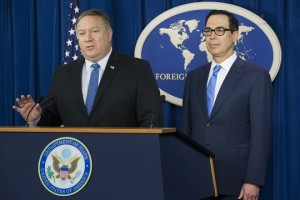 epa07142926 US Secretary of State Mike Pompeo (L) and US Treasury Secretary Steven Mnuchin (R) hold a news conference during which they announced sanctions against Iran, at the Foreign Press Center in Washington, DC, USA, 05 November 2018. Pompeo and Mnuchin announced that the US would reimpose all sanctions against Iran that had been lifted as a result of the Iran nuclear deal during the presidency of Barack Obama.  EPA/MICHAEL REYNOLDS