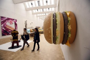 epa04695534 The sculpture 'Big Big Mac' by US artist Tom Friedman is on display during the opening of the Arts and Food exhibition at the Triennale in Milan, Italy, 08 April 2015. The exhibition is part of the Expo 2015 with the theme 'Feeding the Planet, Energy for Life'. The pavillion will open its doors on 09 April and run through 01 November.  EPA/MATTEO BAZZI