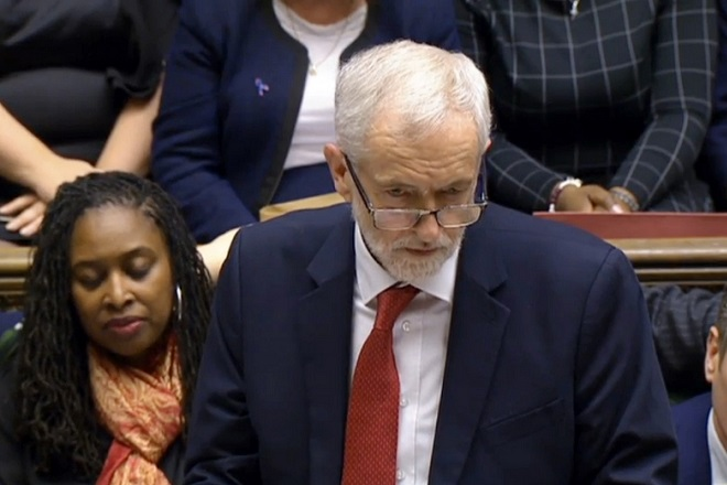 epa07287684 A handout video-grabbed still image from a video made available by UK parliament's parliamentary recording unit showing opposition Labour Party leader Jeremy Corbyn (C) looking at Premier May after the Brexit vote at the parliament late 15 January 2018, London, United Kingdom. A great majority  voted against Prime Minister Theresa May's deal of UK leaving the European Union. The legally-binding Withdrawal Agreement sets up a 'transition or implementation period' that runs until the end of 2020 after Brexit. The United Kingdom, that on 01 January 1973 joined EEC or European Communities, predecessor of European Union, has been a EU member state for 46 years.  EPA/PARLIAMENTARY RECORDING UNIT HANDOUT MANDATORY CREDIT: PARLIAMENTARY RECORDING UNIT HANDOUT EDITORIAL USE ONLY/NO SALES