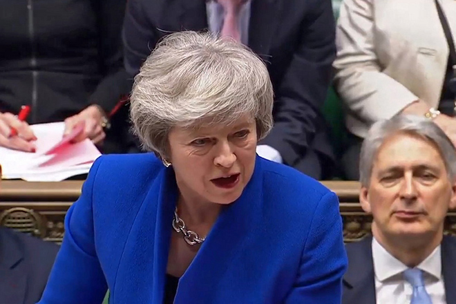 epa07289416 A handout video-grabbed still image from a video made available by UK parliament's parliamentary recording unit showing British  Prime Minister Theresa May during a Prime Ministers Questions (PMQs) in London, Britain, 16 January 2019. Britain's Prime Minister May is facing a confidence vote in parliament after she lost the The Meaningful Vote parliamentary vote on the EU withdrawal agreement on 15 January.  EPA/PARLIAMENTARY RECORDING UNIT HANDOUT MANDATORY CREDIT: PARLIAMENTARY RECORDING UNIT HANDOUT EDITORIAL USE ONLY/NO SALES HANDOUT EDITORIAL USE ONLY/NO SALES HANDOUT EDITORIAL USE ONLY/NO SALES