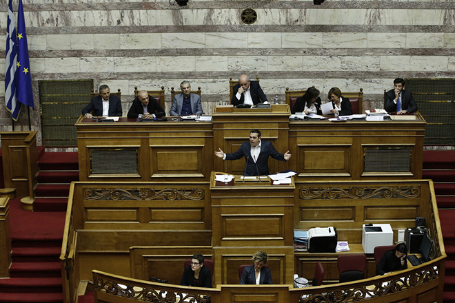 Ο πρωθυπουργός Αλέξης Τσίπρας, μιλάει στη συζήτηση στην Ολομέλεια της Βουλής για παροχή ψήφου εμπιστοσύνης προς την κυβέρνηση, Τετάρτη 16 Ιανουαρίου 2019. Η συζήτηση θα ολοκληρωθεί με ονομαστική ψηφοφορία το βράδυ της Τετάρτης.  ΑΠΕ-ΜΠΕ/ΑΠΕ-ΜΠΕ/ΓΙΑΝΝΗΣ ΚΟΛΕΣΙΔΗΣ