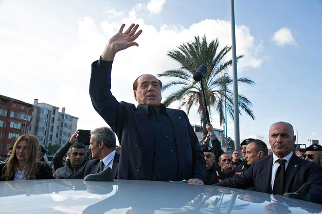 epa07293246 Former Italian premier Silvio Berlusconi, the leader of the centre-right Forza Italia (FI) party, reacts during his visit in Monserrato, Sardinia island, Italy, 17 January 2019. Berlusconi said that he will stand in May's European elections. The 82-year-old media billionaire is able to stand again for public office after the end of a ban related to a tax-fraud conviction that prevented him running in last year's general election.  EPA/Fabio Murru
