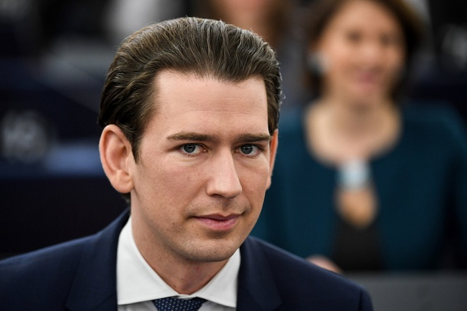 epa07285803 Austrian Chancellor Sebastian Kurz waits for his speech at the European Parliament in Strasbourg, France, 15 January 2019,  at the debate on the Review of the Austrian Council Presidency.  EPA/PATRICK SEEGER