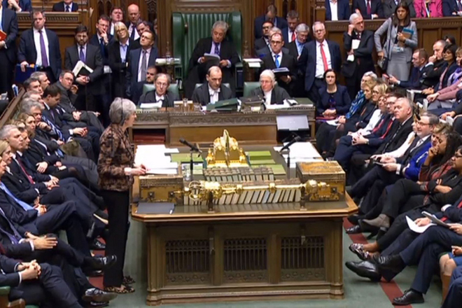 epa07306707 A handout video-grabbed still image from a video made available by the UK Parliamentary Recording Unit shows British Prime Minister Theresa May (L) speaking in the House of Commons in London, Britain, 21 January 2019. Britain's Prime Minister May was to present an alternative Brexit plan to MPs in a bid to have parliament approve her deal to leave the European Union.  EPA/PARLIAMENTARY RECORDING UNIT HANDOUT MANDATORY CREDIT: PARLIAMENTARY RECORDING UNIT HANDOUT EDITORIAL USE ONLY/NO SALES