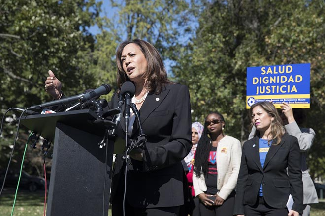 epa06242737 Democratic Senator from California Kamala Harris (L) speaks at a rally for the Dream Act with a focus on women, families, and the LGBTQ community; on Capitol Hill in Washington, DC, USA, 03 October 2017. President Trump announced last month his intention to end the program Deferred Action for Childhood Arrivals (DACA), created by former President Obama, but pending initial applications and renewal applications submitted by a 05 October deadline would continue to be processed. That deadline is not expected to be extended by the Department of Homeland Security, according to media reports.  EPA/MICHAEL REYNOLDS