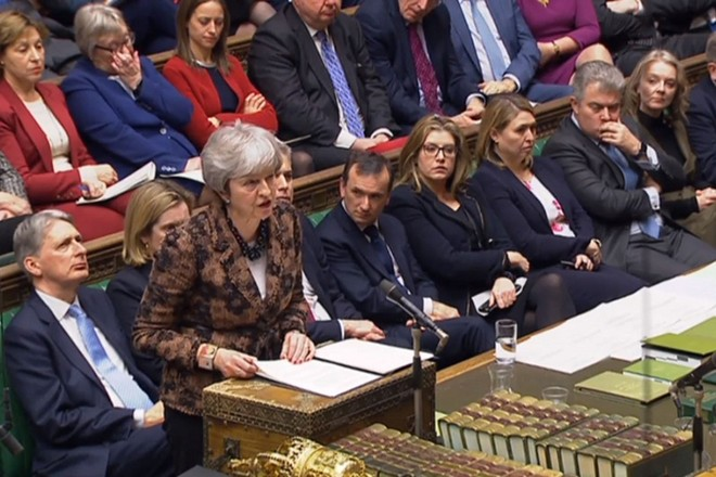 epa07306706 A handout video-grabbed still image from a video made available by the UK Parliamentary Recording Unit shows British Prime Minister Theresa May speaking in the House of Commons in London, Britain, 21 January 2019. Britain's Prime Minister May was to present an alternative Brexit plan to MPs in a bid to have parliament approve her deal to leave the European Union.  EPA/PARLIAMENTARY RECORDING UNIT HANDOUT MANDATORY CREDIT: PARLIAMENTARY RECORDING UNIT HANDOUT EDITORIAL USE ONLY/NO SALES