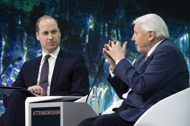 epa07309303 Britain's Prince William (L), The Duke of Cambridge, talks with British broadcaster and natural historian, Sir David Attenborough, during a plenary session in the Congress Hall of the 49th annual meeting of the World Economic Forum, WEF, in Davos, Switzerland, 22 January 2019. The meeting brings together entrepreneurs, scientists, corporate and political leaders in Davos under the topic 'Globalization 4.0' from 22 - 25 January 2019.  EPA/GIAN EHRENZELLER