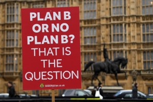 epa07309437 A pro EU placard outside the British Houses of Parliament in central London, Britain, 22 January 2019. British Prime Minister Theresa May has presented her Plan B for Brexit to Parliament and Members of Parliament will vote on her Plan B Brexit deal on 29 January 2019.  EPA/ANDY RAIN
