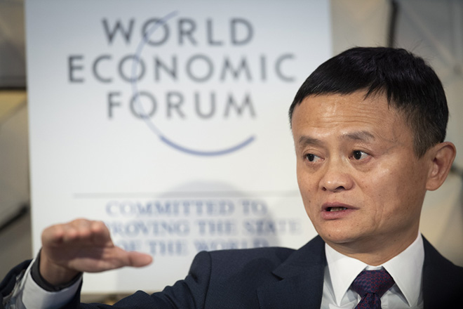 epa07311501 Jack Ma, Executive chairman Alibaba Group, speaks during a panel session at the 49th annual meeting of the World Economic Forum, WEF, in Davos, Switzerland, 23 January 2019. The meeting brings together entrepreneurs, scientists, corporate and political leaders in Davos under the topic 'Globalization 4.0' from 22 - 25 January 2019.  EPA/GIAN EHRENZELLER