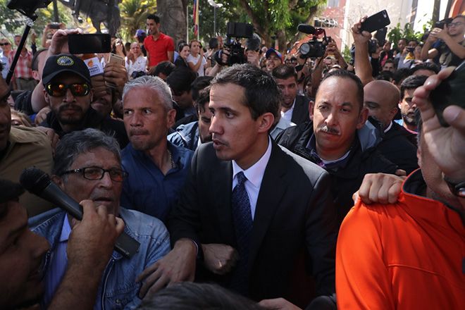 Guaido appears for the first time in public after proclaiming himself president