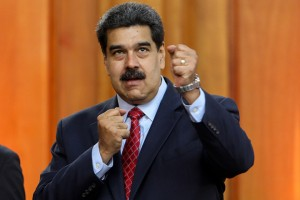 epa07319853 Venezuelan head of state, Nicolas Maduro, gestures during a press conference at the Miraflores Palace in Caracas, Venezuela, 25 January 2019. Maduro said that his government is preparing to face a potential armed conflict 'with the people' in the face of the 'coup d'état' that he claims is being lead by the United States and announced that military exercises will be held in February.  EPA/Cristian Hernandez