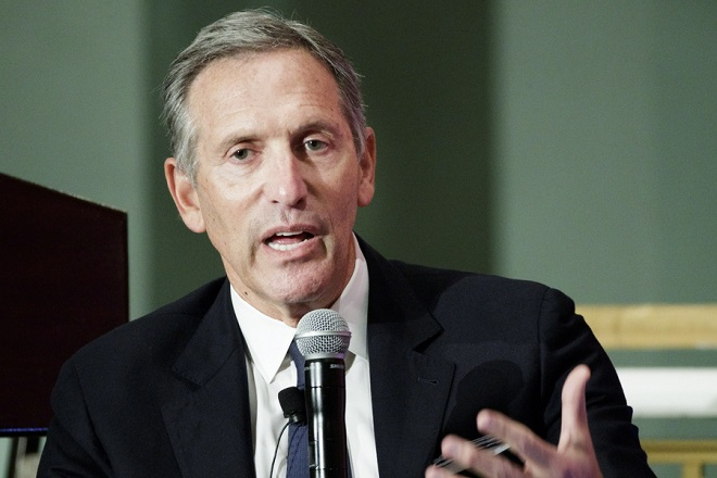 epa06785575 (FILE) - Howard Schultz, the Executive Chairman of Starbucks, speaks during an event with the Economic Club of New York in New York, New York, USA, 24 May 2017 (issued 04 June 2018. Starbucks announced  Howard Schultz, will be stepping down as executive chairman and as a member of the company's board effective 26 June 2018.  EPA/JUSTIN LANE