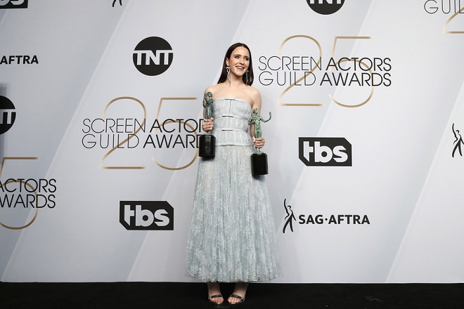 epaselect epa07326517 Rachel Brosnahan poses with the SAG Award for Outstanding Performance by a Female Actor in a Comedy Series in 'The Marvelous Mr.s Maisel' and part of the ensemble for Outstanding Performance by an Ensemble in a Comedy Series in 'The Marvelous Mrs. Maisel' during the 25th annual Screen Actors Guild Awards ceremony at the Shrine Auditorium in Los Angeles, California, USA, 27 January 2019.  EPA/NINA PROMMER