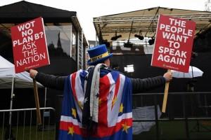 epa07315403 A pro EU campaigner outside parliament in London, Britain, 24 January 2019. British Prime Minister Theresa May has presented her Plan B for Brexit to parliament. Parliamentarians will vote on her Plan B Brexit deal January 29.  EPA/ANDY RAIN