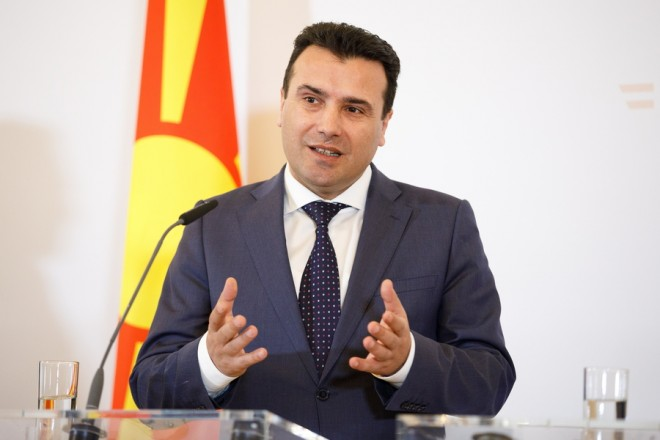 epa07331548 Former Yugoslav Republic of Macedonia Prime Minister Zoran Zaev speaks at a press statement after his meeting with Austrian Chancellor Sebastian Kurz (not pictured) at the Ferderal Chancellery in Vienna, Austria, 30 January 2019. Zaev is in Vienna to discuss FYROM's EU accession options and migration.  EPA/FLORIAN WIESER