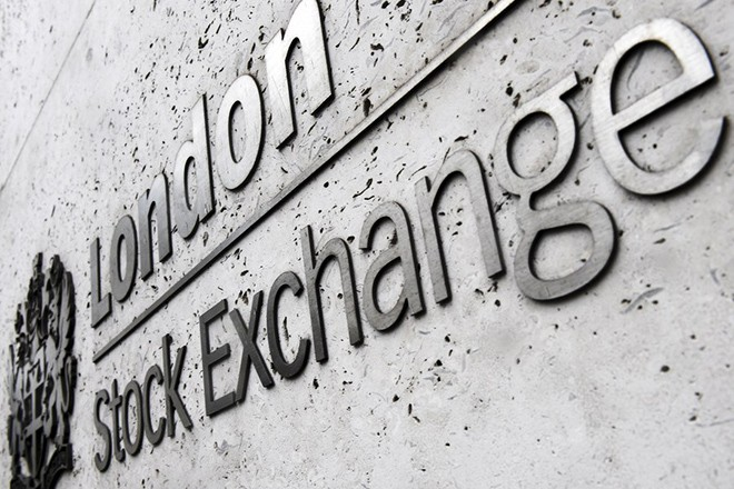 epa05966400  (FILE) - A file photograph showing the exterior view of the name lettering of the London Stock Exchange (LSE) in London, Britain, 27 February 2017. Media reports on 15 May 2017 state that (Financial Times Stock Exchange) FTSE 100 share index finished the day at an all-time record high, boosted by rising commodity prices.  EPA/ANDY RAIN