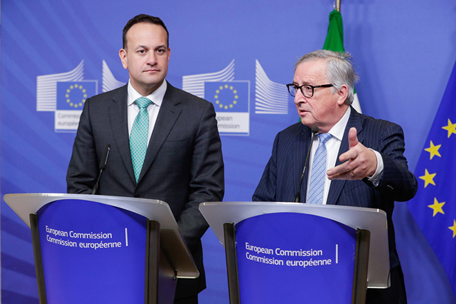 epa07348038 Irish Prime Minister, or Taoiseach, Leo Varadkar (L) and European Commission President Jean-Claude Juncker (R) address the media during a joint press conference at the end of their eeting at the European Commission in Brussels, Belgium, 06 February 2019. Varadkar along with Juncker and other EU politicians were discussing preparations for a possible no-deal Brexit on 29 March 2019.  EPA/STEPHANIE LECOCQ