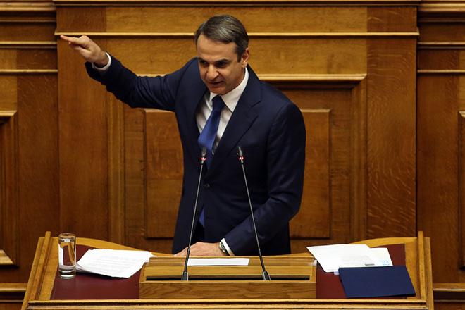 Ο πρόεδρος της Νέας Δημοκρατίας Κυριάκος Μητσοτάκης μιλάει στην ολομέλεια της Βουλής στη συζήτηση και ψηφοφορία για το πρωτόκολλο ένταξης της πΓΔΜ στο ΝΑΤΟ, Παρασκευή 8 Φεβρουαρίου 2019. ΑΠΕ-ΜΠΕ/ΑΠΕ-ΜΠΕ/ΟΡΕΣΤΗΣ ΠΑΝΑΓΙΩΤΟΥ
