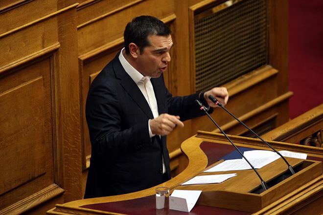 Ο πρωθυπουργός Αλέξης Τσίπρας μιλάει στην ολομέλεια της Βουλής στη συζήτηση και ψηφοφορία για το πρωτόκολλο ένταξης της πΓΔΜ στο ΝΑΤΟ, Παρασκευή 8 Φεβρουαρίου 2019. ΑΠΕ-ΜΠΕ/ΑΠΕ-ΜΠΕ/ΟΡΕΣΤΗΣ ΠΑΝΑΓΙΩΤΟΥ