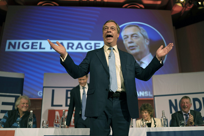 epa07231879 Former UKIP Leader Nigel Farage speaks at a 'Leave Means Leave Rally' in Central London, Britain, 14 December 2018. The campaign group 'Leave Means Leave' is calling for changes to British Prime Minister Theresa May's negotiations on the United Kingdom leaving the European Union. Supporters of the campaign group are calling for No Deal on Brexit.'  EPA/WILL OLIVER