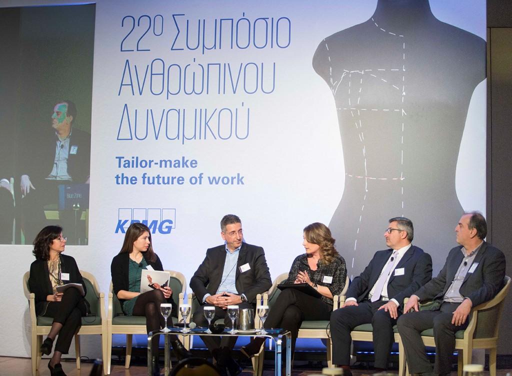 Στιγμιότυπο από τη συζήτηση πανελ ανάμεσα στους Ειρήνη Ρηγοπούλου, Γιάννη Τσίληρα, Στέλλα Βουλγαράκη, Βασίλη Ραμπάτ και Γιώργο Παρτσακουλάκη, με συντονίστρια τη Μαρία Ακριβού