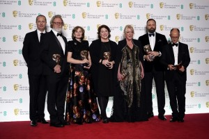 epa07360079 (L-R) Producer Andrew Lowe, Tony McNamara, Deborah Davis, Lee Magiday, Ceci Dempsey, director Yorgos Lanthimos and Ed Guiney pose in the press room during the 72nd annual British Academy Film Awards at the Royal Albert Hall in London, Britain, 10 February 2019. The ceremony is hosted by the British Academy of Film and Television Arts (BAFTA).  EPA/NIK HALLEN