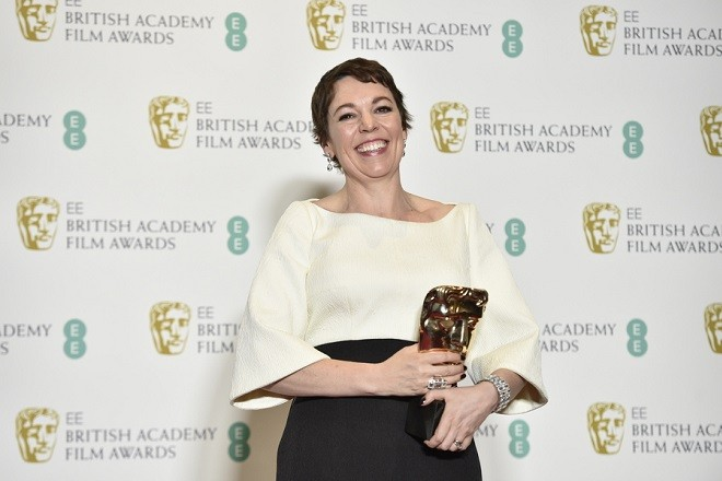epa07360620 British actress Olivia Colman poses with her Best Actress award for 'The Favourite' in the press room during the 72nd annual British Academy Film Awards at the Royal Albert Hall in London, Britain, 10 February 2019. The ceremony is hosted by the British Academy of Film and Television Arts (BAFTA).  EPA/NIK HALLEN