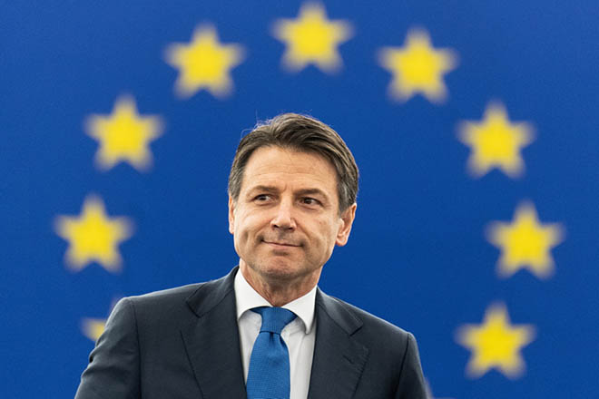 epa07364809 Italian Prime Minister Giuseppe Conte waits for his speech at the European Parliament in Strasbourg, 12 February 2019. Conte speaks  on the Future of Europe.  EPA/PATRICK SEEGER