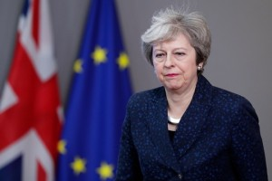 epa07350424 British Prime Minister Theresa May arrives to speak to the press after a meeting with the President of the European Council Donald Tusk at the European Council in Brussels, Belgium, 07 February 2019. May is in Brussels to discuss Brexit and related issues.  EPA/STEPHANIE LECOCQ