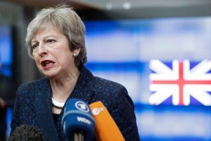 epa07350459 British Prime Minister Theresa May speaks to the press after a meeting with the President of the European Council Donald Tusk at the European Council in Brussels, Belgium, 07 February 2019. May is in Brussels to discuss Brexit and related issues.  EPA/STEPHANIE LECOCQ