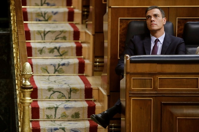 epa07364523 Spanish Prime Minister Pedro Sanchez during the 2019 budget debate at the Lower House in Madrid, Spain, 12 February 2019. The Lower House will hold a two-day-long debate in order to vote on the amendments to the budget presented by the opposition parties. Up until now, and according to declarations made by all different opposition parties, the amendments could be approved and the budget would be rejected, and Prime Minister Pedro Sanchez could make the decision to call for early elections.  EPA/Juan Carlos Hidalgo