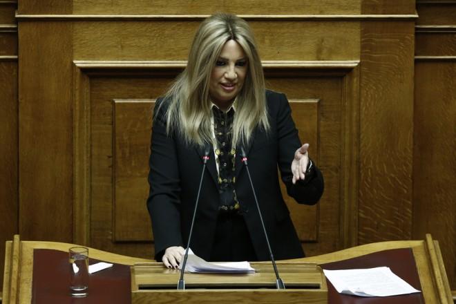 Η επικεφαλής της Δημοκρατικής Συμπαράταξης, Φώφη Γεννηματά, μιλάει στην Ολομέλεια της Βουλής, κατά τη διάρκεια συζήτησης για την Συνταγματική Αναθεώρηση, Αθήνα, Τετάρτη 13 Φεβρουαρίου 2019.  ΑΠΕ-ΜΠΕ/ΑΠΕ-ΜΠΕ/ΓΙΑΝΝΗΣ ΚΟΛΕΣΙΔΗΣ