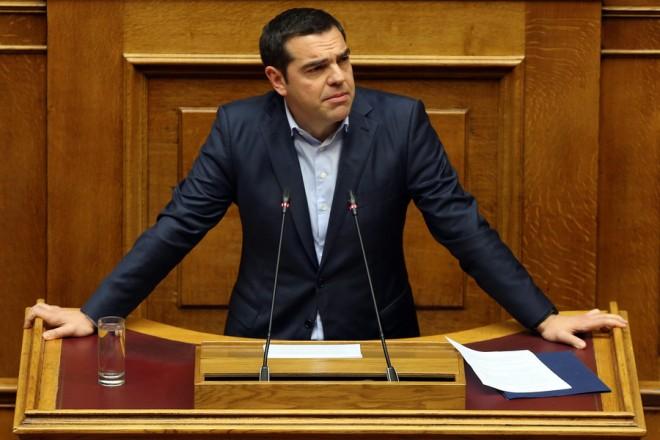 Ο πρωθυπουργός Αλέξης Τσίπρας απευθύνεται στην Ολομέλεια της Βουλής  στη συζήτηση για την αναθεώρηση του Συντάγματος, Αθήνα, Τετάρτη 13 Φεβρουαρίου 2019.  ΑΠΕ-ΜΠΕ/ΑΠΕ-ΜΠΕ/ΟΡΕΣΤΗΣ ΠΑΝΑΓΙΩΤΟΥ