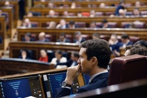 epa07364250 Pablo Casado, the leader of Spanish People's Party (PP), attends the 2019 budget debate in Madrid, Spain, 12 February 2019. The Lower House will hold a two-day-long debate in order to vote on the amendments to the budget presented by the opposition parties. Up until now, and according to declarations made by all different opposition parties, the amendments could be approved and the budget would be rejected, and Prime Minister Pedro Sanchez could make the decision to call for early elections.  EPA/J.P. GANDUL