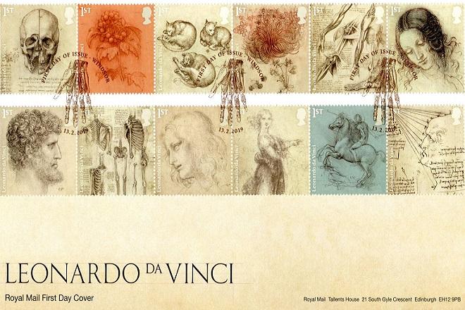 Με 12 γραμματόσημα οι Βρετανοί τιμούν τον Λεονάρντο ντα Βίντσι