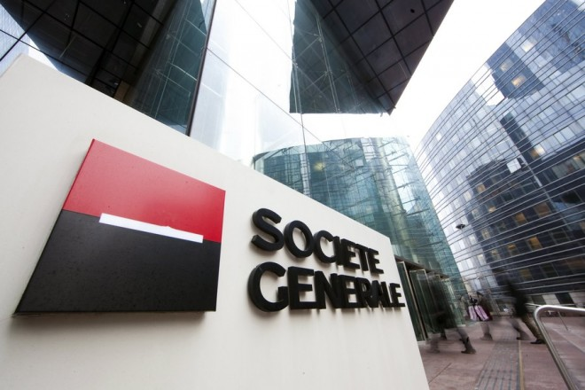 epa06355436 (FILE) A file photo dated 16 February 2012 showing the logo of French bank Societe Generale at the entrance of the bank's headquarters in La Defense business district in Puteaux, near Paris, France. Financial Times on 28 November 2017 reports French bank Societe Generale may close as much as 15 per cent of its branches while at the same time axing some 900 jobs in an effort to cut costs in France.  EPA/IAN LANGSDON *** Local Caption *** 51129509