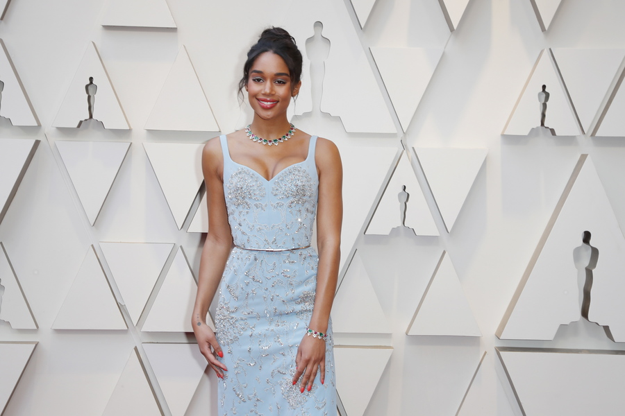 epa07394356 Laura Harrier arrives for the 91st annual Academy Awards ceremony at the Dolby Theatre in Hollywood, California, USA, 24 February 2019. The Oscars are presented for outstanding individual or collective efforts in 24 categories in filmmaking.  EPA/ETIENNE LAURENT