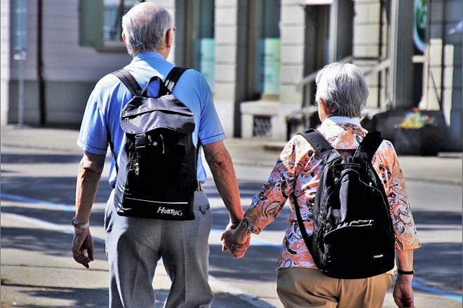 old people seniors tourists