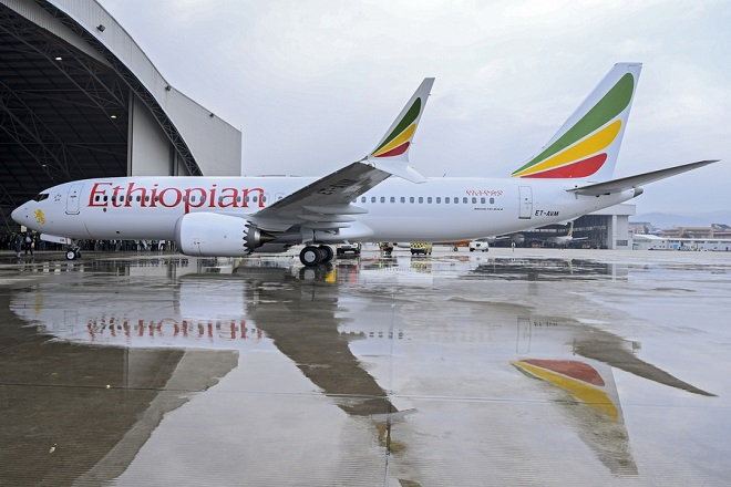 epa07426629 Ethiopian Airlines Boeing 737 Max 8 (ET-AVM), the same aircraft that crashed in Ethiopia on 10 March 2019, is seen at Bole International Airport in Addis Ababa, Ethiopia, when it was first delivered to Ethiopia on 02 July 2018 (issued 10 March 2019). Ethiopian Airlines Boeing 737 en route to Nairobi, Kenya, crashed near Bishoftu, some 50km outside of the capital Addis Ababa, Ethiopia, on 10 March 2019. All passengers onboard the scheduled flight ET 302 carrying 149 passengers and 8 crew members, have died, the airlines says.  EPA/STR