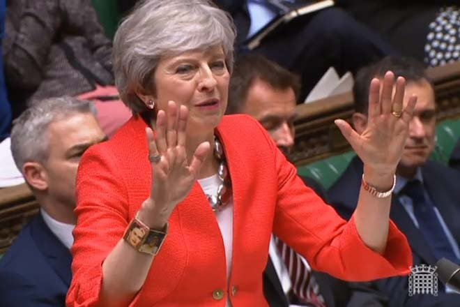 epa07431418 A grab from a handout video made available by the UK Parliamentary Recording Unit shows British Prime Minister Theresa May gestures during a debate at the House of Commons parliament in London, Britain, 12 March 2019. British parliament will vote on British Prime Minister May's amended Brexit deal later in the day. Theresa May wants parliament to back her 'improved' withdrawalk agreement she has negotiated with the EU over the so-called 'backstop'. The United Kingdom is officially due to leave the European Union on 29 March 2019, two years after triggering Article 50 in consequence to a referendum.  EPA/UK PARLIAMENTARY RECORDING UNIT / HANDOUT MANDATORY CREDIT: UK PARLIAMENTARY RECORDING UNIT HANDOUT EDITORIAL USE ONLY/NO SALES