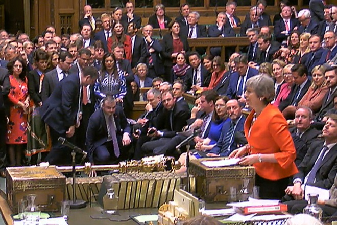 epa07432053 A grab from a handout video made available by the UK Parliamentary Recording Unit shows British Prime Minister Theresa May addressing the House of Commons parliament in London, Britain, 12 March 2019.  MPs defeated her Brexit deal by 149 votes. The United Kingdom is officially due to leave the European Union on 29 March 2019, two years after triggering Article 50 in consequence to a referendum.  EPA/UK PARLIAMENTARY RECORDING UNIT / HANDOUT MANDATORY CREDIT: UK PARLIAMENTARY RECORDING UNIT HANDOUT EDITORIAL USE ONLY/NO SALES HANDOUT EDITORIAL USE ONLY/NO SALES HANDOUT EDITORIAL USE ONLY/NO SALES HANDOUT EDITORIAL USE ONLY/NO SALES