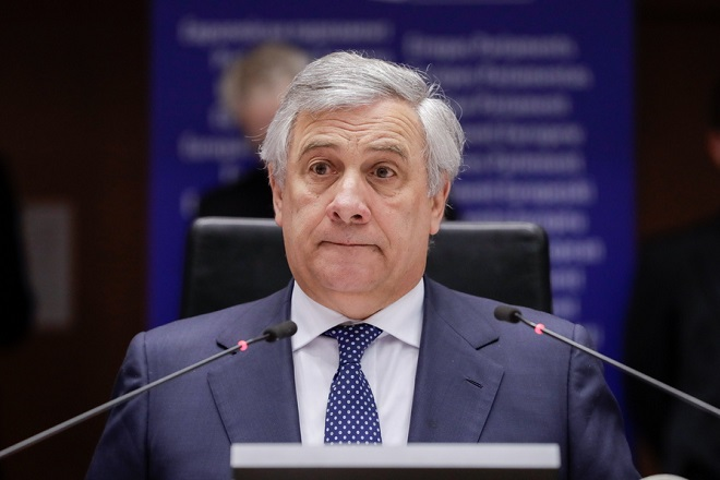 epa07333356 EP President Antonio Tajani attends the vote on Venezuela situation during a plenary session at the European Parliament in Brussels, Belgium, 31 January 2019.  The parliament voted for the  official recognition of the President of the National Assembly (Parliament) of Venezuela and self-proclaimed interim President of the country Juan Guaido as president of the Venezuela.  EPA/STEPHANIE LECOCQ