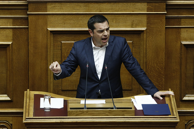 Ο πρωθυπουργός Αλέξης Τσίπρας μιλάει στην Ολομέλεια της Βουλής στη συζήτηση και λήψη απόφασης επί των προτάσεων για αναθεώρηση διατάξεων του Συντάγματος, σύμφωνα με τα άρθρα 110 του Συντάγματος και 119 του Κανονισμού της Βουλής (δεύτερη ψηφοφορία), Αθήνα, Πέμπτη 14 Μαρτίου 2019.  ΑΠΕ-ΜΠΕ/ΑΠΕ-ΜΠΕ/ΓΙΑΝΝΗΣ ΚΟΛΕΣΙΔΗΣ