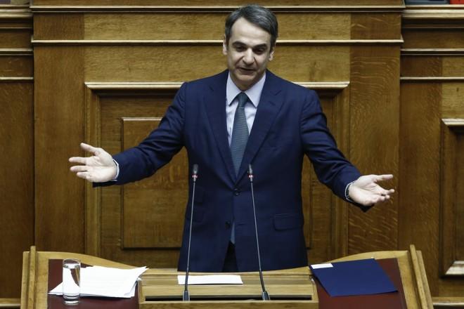 Ο πρόεδρος της ΝΔ Κυριάκος Μητσοτάκης μιλάει στην Ολομέλεια της Βουλής στη συζήτηση και λήψη απόφασης επί των προτάσεων για αναθεώρηση διατάξεων του Συντάγματος, σύμφωνα με τα άρθρα 110 του Συντάγματος και 119 του Κανονισμού της Βουλής (δεύτερη ψηφοφορία), Αθήνα, Πέμπτη 14 Μαρτίου 2019.  ΑΠΕ-ΜΠΕ/ΑΠΕ-ΜΠΕ/ΓΙΑΝΝΗΣ ΚΟΛΕΣΙΔΗΣ