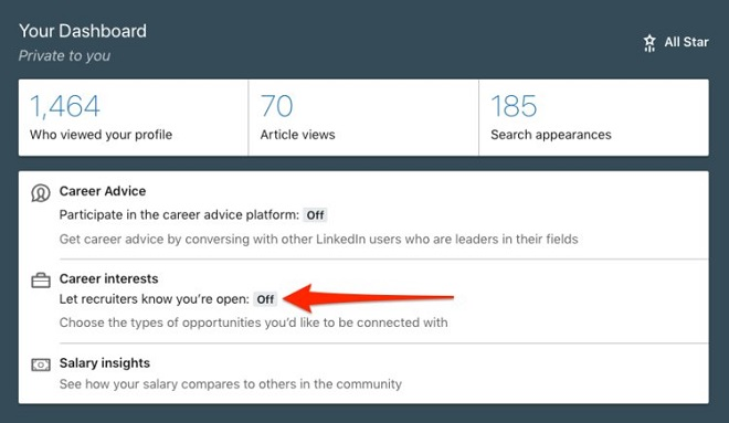 You haven't alerted recruiters that you're open to new roles