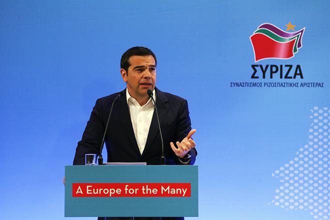 Ο πρόεδρος του ΣΥΡΙΖΑ και πρωθυπουργός Αλέξης Τσίπρας μιλάει στο διήμερο ευρωπαίκό συνέδριο με τίτλο «Το μέλλον της ΕΕ: προκλήσεις και προοδευτικές εναλλακτικές λύσεις».που διοργανώνουν ο ΣΥΡΙΖΑ και η Ευρωομάδα της Αριστεράς GUE/NGL, στην Αθήνα, ως μια σημαντική συνάντηση για την ευρωπαϊκή Αριστεράς σε κεντρικό ξενοδοχείο της Αθήνας, Παρασκευή 15 Μαρτίου 2019. Στο Συνέδριο θα παραστούν και θα παρέμβουν ο υποψήφιος της Αριστεράς για τη θέση του Προέδρου της Ευρωπαϊκής Επιτροπής Nico Cue και η αντιπρόεδρος του Gue Maite Mola. ΑΠΕ-ΜΠΕ/ΑΠΕ-ΜΠΕ/ΑΛΕΞΑΝΔΡΟΣ ΒΛΑΧΟΣ