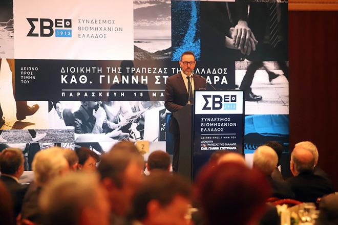 Ο Διοικητής της Τράπεζας της Ελλάδος, Γιάννης Στουρνάρας, μιλάει κατά τη διάρκεια δείπνου προς τιμήν του από τον Σύνδεσμο Βιομηχανιών Βορείου Ελλάδος στο ξενοδοχείο Hyatt. Θεσσαλονίκη, Παρασκευή 15 Μαρτίου 2019. ΑΠΕ ΜΠΕ/PIXEL