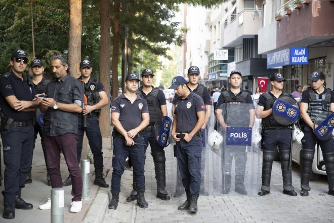 epa07088724 Turkish riot police secure the area  as they wait for US pastor Andrew Brunson after he was released following a trial at the Aliaga Prison Court in Izmir, Turkey, 12 October 2018. Brunson's trial was held at Aliaga Prison Court on 12 October after he had been in custody for two years on charges of terror and espionage. The US announced on 01 August 2018 that it will impose sanctions on Turkish Justice Minister Abdulhamit and Turkish Minister of the Interior Suleyman Soylu over the arrest and detention of the US pastor.  EPA/TOLGA BOZOGLU